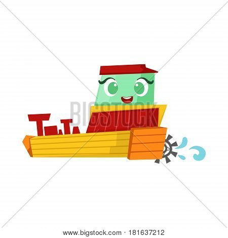 Green And Yellow Paddle Steamer Boat, Cute Girly Toy Wooden Ship With Face Cartoon Illustration. Funny Isolated Water Transportation Character With Big Eyes And Smile.