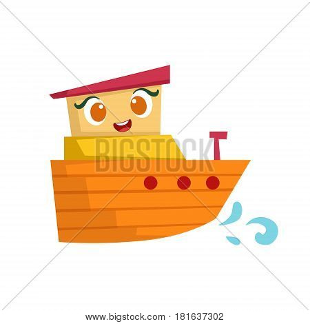 Orange And Yellow Small Boat, Cute Girly Toy Wooden Ship With Face Cartoon Illustration. Funny Isolated Water Transportation Character With Big Eyes And Smile.