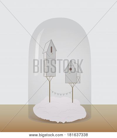 Bird houses under a glass dome. Vector illustration