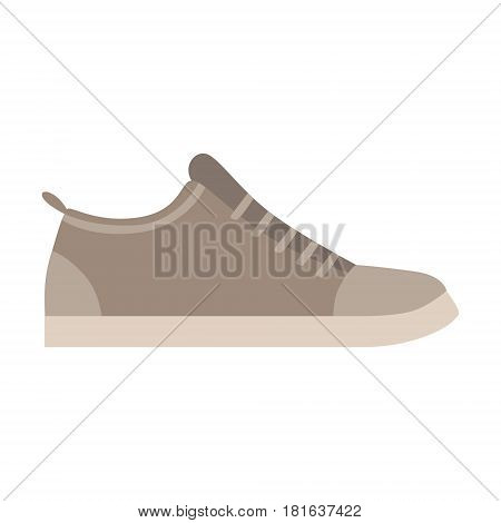 Grey Trainer Shoe, Isolated Footwear Flat Icon, Shoes Store Assortment Item. Cartoon Realistic Footgear Single Object, Fashion Accessory Simple Vector Illustration.