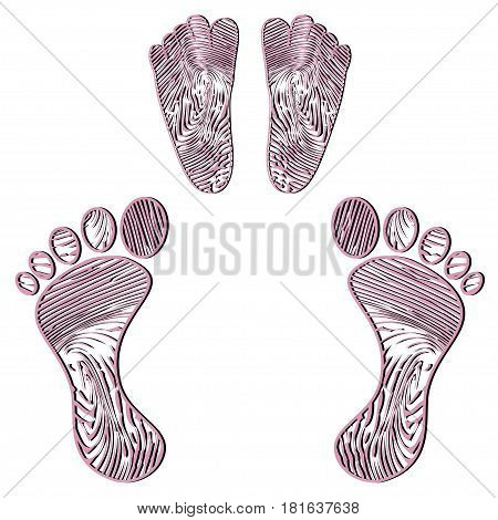 Illustration embossed human footprint on a white background.