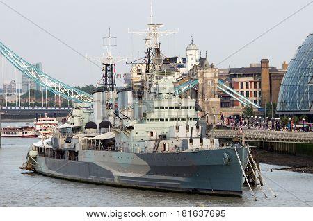 LONDON UK - JUL 1 2015: HMS Belfast former Royal Navy cruiser in London.