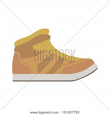 Leather Autumn Sneaker Shoe, Isolated Footwear Flat Icon, Shoes Store Assortment Item. Cartoon Realistic Footgear Single Object, Fashion Accessory Simple Vector Illustration.