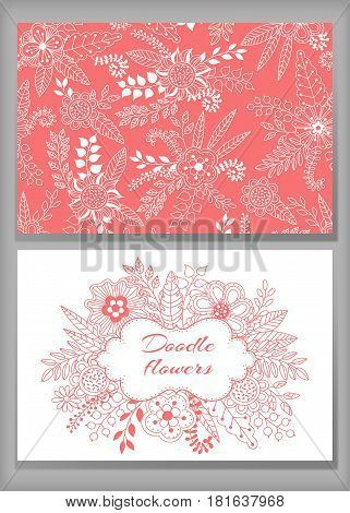 loral card design flowers and leaf doodle elements. Cute frame made of flowersleaves berries. Vector decorative invitation. Spring elements. Use for card greeting invitation wedding party hen-party mother's day valentine