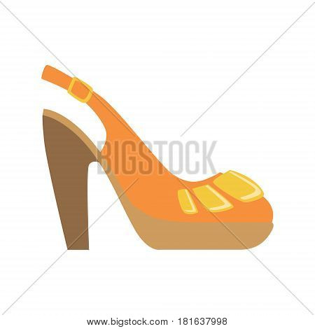Slingback Female Shoe On Platform, Isolated Footwear Flat Icon, Shoes Store Assortment Item. Cartoon Realistic Footgear Single Object, Fashion Accessory Simple Vector Illustration.