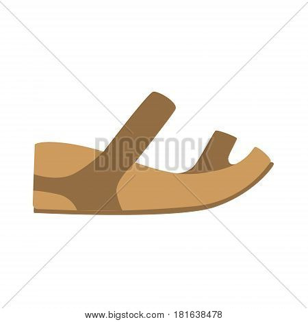 Comfortable Leather Sandal, Isolated Footwear Flat Icon, Shoes Store Assortment Item. Cartoon Realistic Footgear Single Object, Fashion Accessory Simple Vector Illustration.