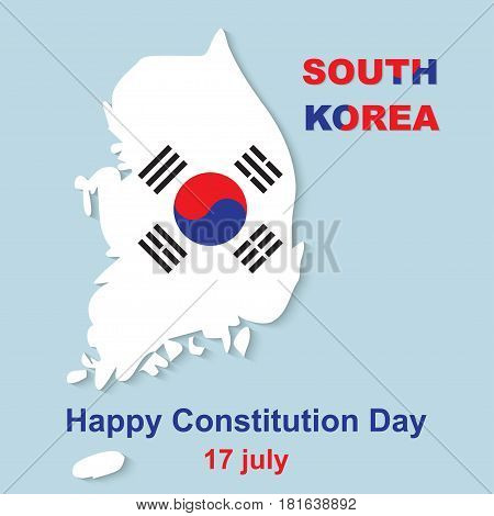 15 August Happy Constitution Day. South Korea map vector illustration