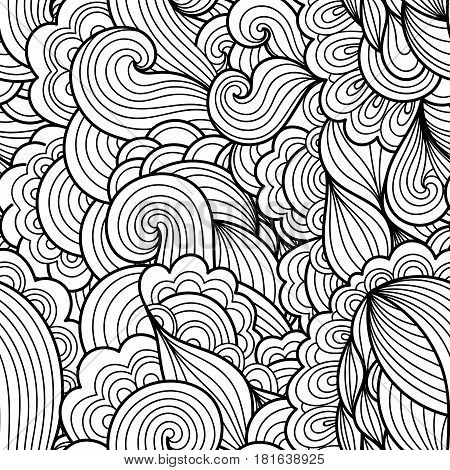 Seamless abstract hand-drawn waves pattern wavy background. Seamless pattern can be used for wallpaper pattern fills web page backgroundsurface textures. Gorgeous seamless floral background