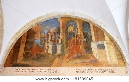 DUBROVNIK, CROATIA - NOVEMBER 08: The frescoes with scenes from the life of St. Francis of Assisi, cloister of the Franciscan monastery of the Friars Minor in Dubrovnik, Croatia on November 08, 2016.