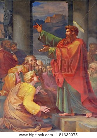 ROME, ITALY - SEPTEMBER 05: The fresco with the image of the life of St. Paul: St. Paul preaching, basilica of Saint Paul Outside the Walls, Rome, Italy on September 05, 2016.