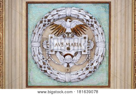 ROME, ITALY - SEPTEMBER 05: Ave Maria, stucco decoration, basilica of Saint Paul Outside the Walls, Rome, Italy on September 05, 2016.