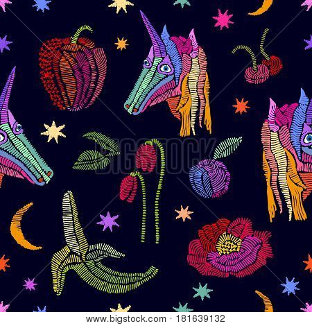 Seamless pattern with embroidered texture. Bananas, pepper, cherry, tulips, poppies, stars.