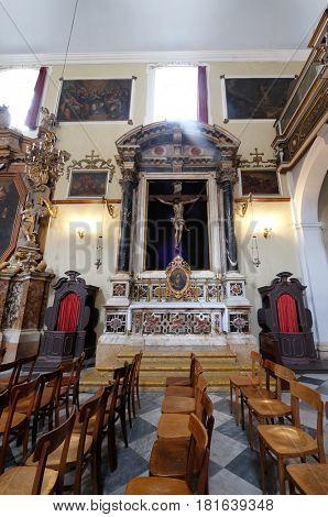 DUBROVNIK, CROATIA - NOVEMBER 08: Altar of Holy Cross, Franciscan church of the Friars Minor in Dubrovnik, Croatia on November 08, 2016.