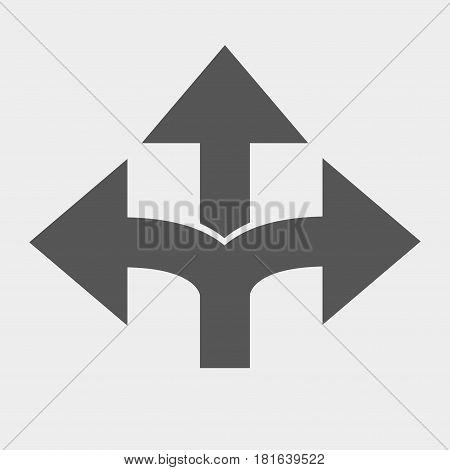 three-way direction arrow three-way direction arrow sign road direction road direction icon.