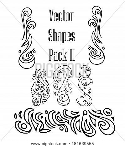 Vintage set decor elements. Elegance old hand drawing set. Ornate swirl leaves, label, curved lines and decor elements in vector. Decoration for logo, wedding album or restaurant menu.