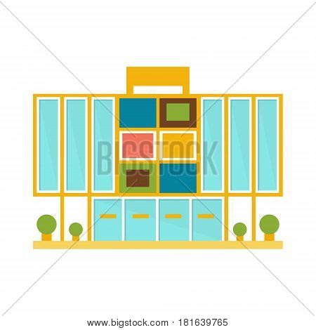 Weird Minimalistic Colorful Shopping Mall Modern Building Exterior Design Project Template Isolated Flat Illustration. Office Or Commercial Space Contemporary Architecture Project Idea Simple Vector Icon.