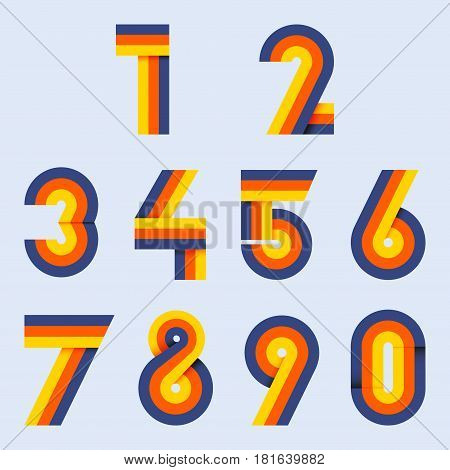 Numbers set hipster parallel offset thin intersection lines style idea numerals typography design element for wedding invitation mathematics logo symbols mockup.