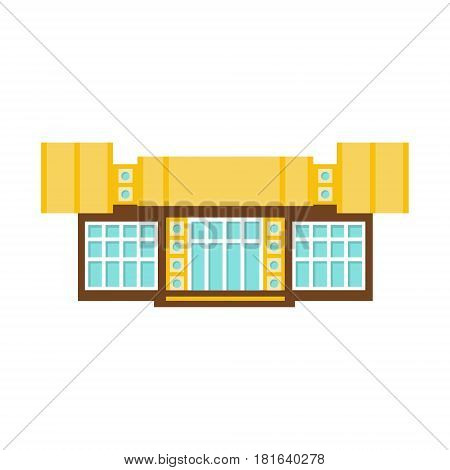 Modernistic Art Shopping Mall Modern Building Exterior Design Project Template Isolated Flat Illustration. Office Or Commercial Space Contemporary Architecture Project Idea Simple Vector Icon.
