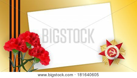 Gold medal red star with inscription Patriotic great war. Striped ribbon. 9 may, realistic carnation. Victory Day greeting card for veterans. Vector memory golden banner empty blank paper.