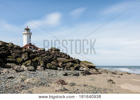 Point Wilson Lighthouse along shore in Washington State