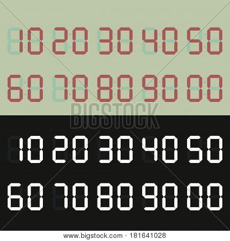 Set of Digital Numbers. Global Colors Used