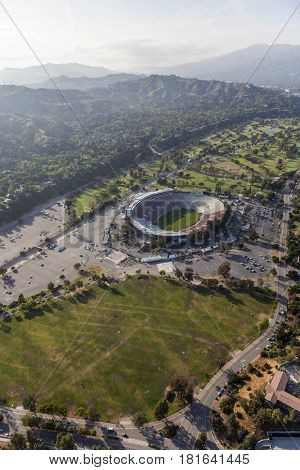 Pasadena, California, USA - April 12, 2017:  Aerial view of the historic Rose Bowl Stadium and Brookside Park near Los Angeles.