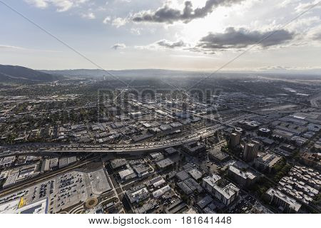 Aerial view of downtown Burbank and the Golden State 5 Freeway near Los Angeles, California.