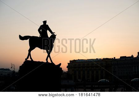Moscow Russia : silhouette Maarshall Zhukov's Monument