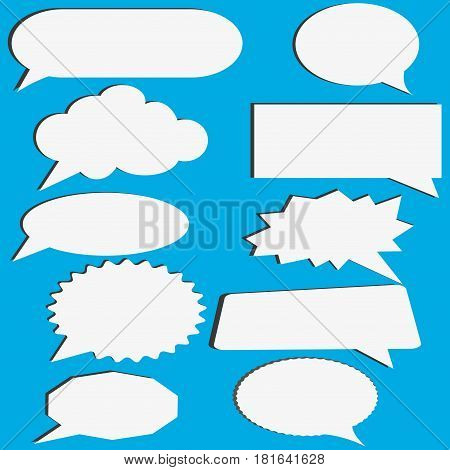 Thought , speech bubble. Dream cloud. Talk balloon. Quote box. Text information frame. Banner and badge. Set of vector illustration icons
