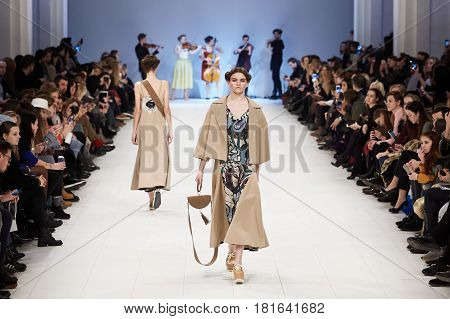 Kyiv, Ukraine - February 7, 2017: Models Walk The Runway During Fashion Show By Rybalko Autumn/winte