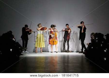 Kyiv, Ukraine - February 7, 2017: Musicians Playing During Fashion Show By Rybalko Autumn/winter 201