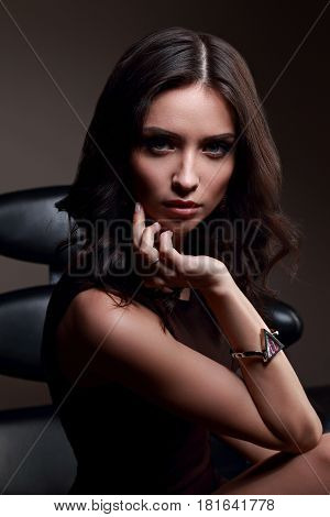 Sexy Young Makeup Model With Vamp Look Posing On Dark Shadow Background In Fashion Trendy Watch On T