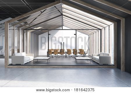 House framed office waiting room with a glass wall white sofas and two coffee tables. 3d rendering.