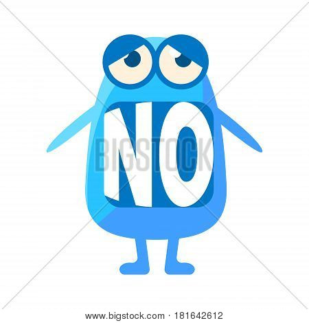 Blue Blob Saying No, Cute Emoji Character With Word In The Mouth Instead Of Teeth, Emoticon Message. Cartoon Abstract Emoticon With Text In Flat Vector Illustration.