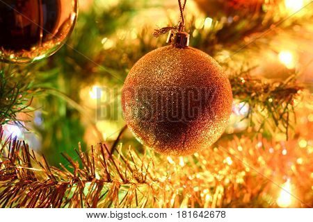 Colorful Golden Christmas Tree Decorations Composition. Bright Pleasant Mood.