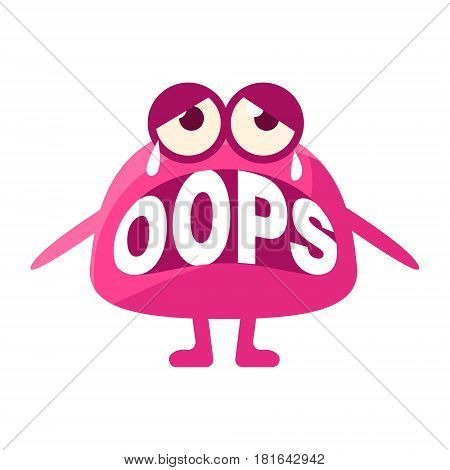 Pink Blob Saying Oops, Cute Emoji Character With Word In The Mouth Instead Of Teeth, Emoticon Message. Cartoon Abstract Emoticon With Text In Flat Vector Illustration.