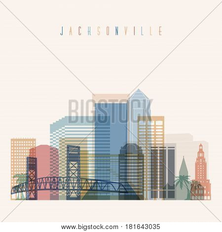 Transparent styled Jacksonville state Florida skyline detailed silhouette. Trendy vector illustration