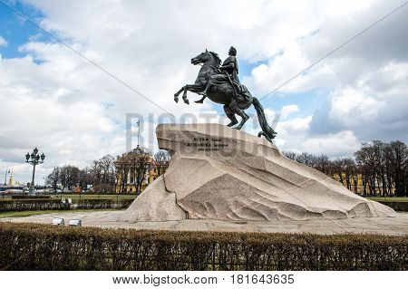 April 13 2015 - St.Petersburg Russia Bronze Horseman St.Petersburg Russia The Bronze Horseman is an equestrian statue of Peter the Great in the Senate Square in Saint Petersburg Russia. Commissioned by Catherine the Great