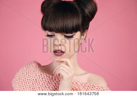 Beauty Makeup. Fashion Teen Girl Model. Brunette With Matte Lips And Hairstyle Posing Over Studio Pi