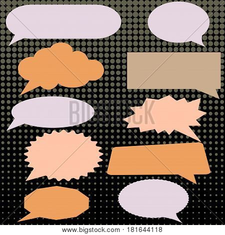 Thought speech bubble. Dream cloud. Talk balloon. Quote box. Text information frame. Banner and badge. Set of vector illustration icons