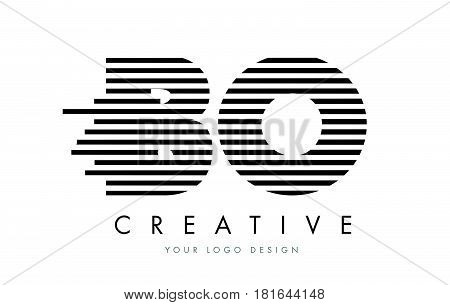 Bo B O Zebra Letter Logo Design With Black And White Stripes