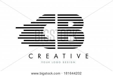 Cb C B Zebra Letter Logo Design With Black And White Stripes