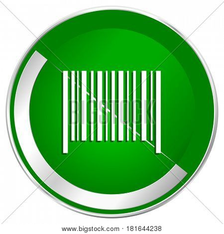 Barcode silver metallic border green web icon for mobile apps and internet.