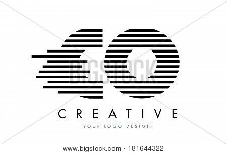Co C O Zebra Letter Logo Design With Black And White Stripes
