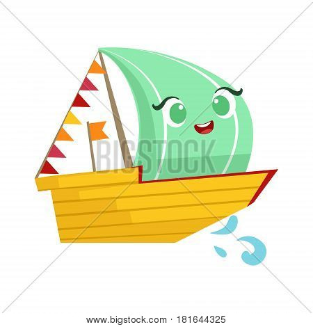 Regatta Sailing Boat, Cute Girly Toy Wooden Ship With Face Cartoon Illustration