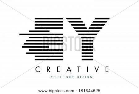Ey E Y Zebra Letter Logo Design With Black And White Stripes