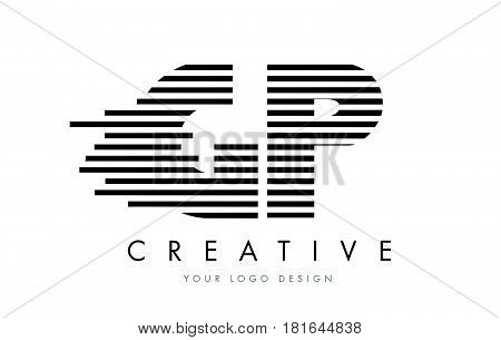 Gp G P Zebra Letter Logo Design With Black And White Stripes