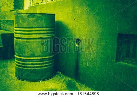 green toxic. toxic tank with danger chemical leak from factory