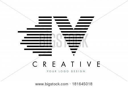 Iv I V Zebra Letter Logo Design With Black And White Stripes