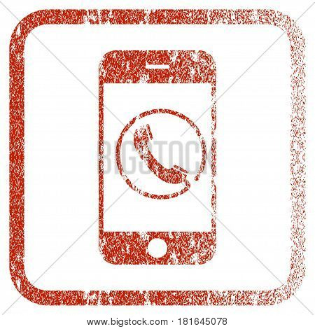 Phone textured icon for overlay watermark stamps. Red vectorized texture. Flat red vector symbol with dust design inside rounded square frame. Framed rubber seal stamp imitation.